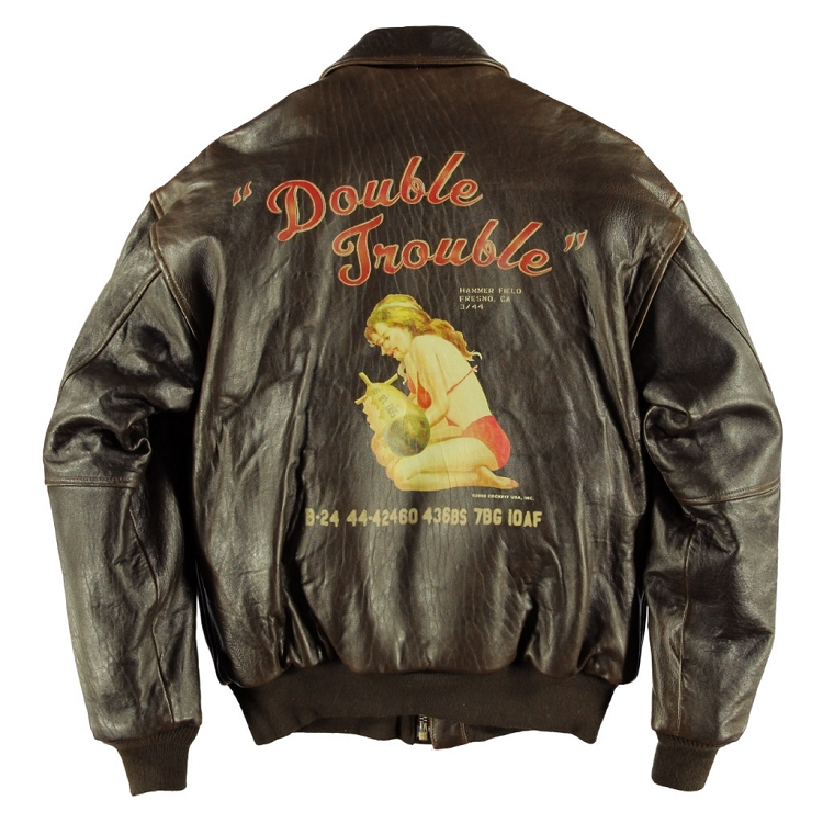 DOUBLE TROUBLE NOSE ART A-2 LEATHER JACKET