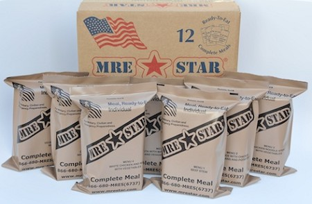 MRE - FULL CASE, 12 MEALS - VEGETARIAN With Heaters