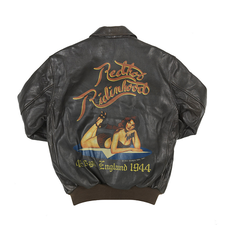 RED RIDING HOOD NOSE ART A-2 LEATHER JACKET